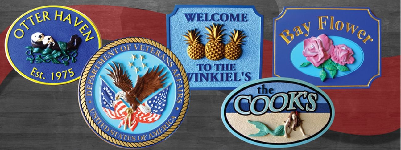 Product Line 2 - Examples of Premium 3D Carved Artist-Painted HDU Signs and Plaques