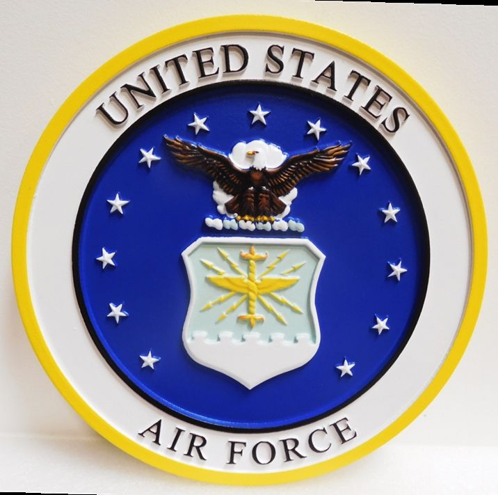 LP-1075 - Carved Plaque of the Emblem of the United States Air Force, 3-D Artist Painted