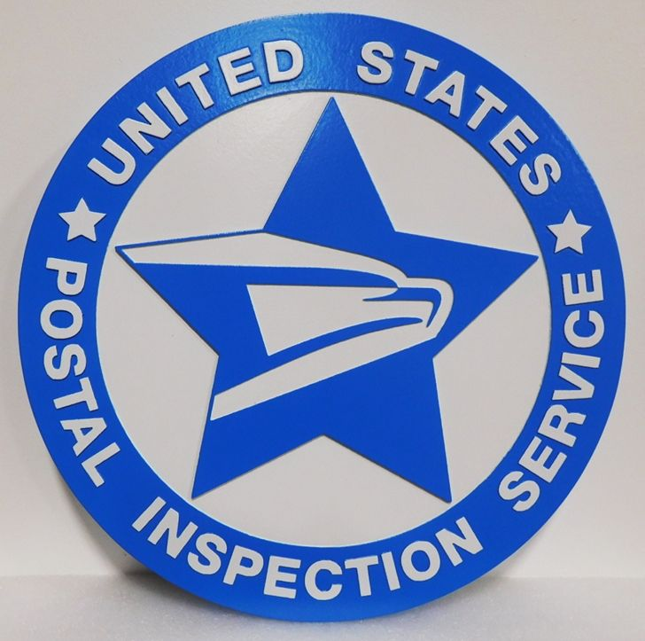 AP-6685 - Carved Plaque of the Seal of the US Postal Inspection Service, 2.5-D Raised Relief