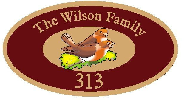 M22812 - Design of Address Sign for Family with Two Birds (Love Birds) in Nest