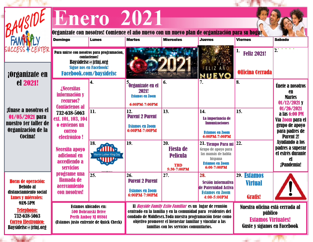 January 2021 Calendar Español (Calendario de Enero)