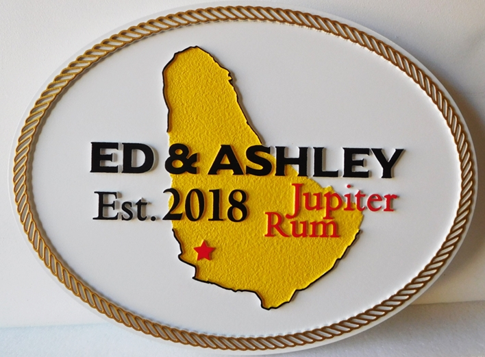 """I18769- Carved and Sandblasted HDU  PropertyName Sign """"Jupiter Rum"""" , with a Map"""