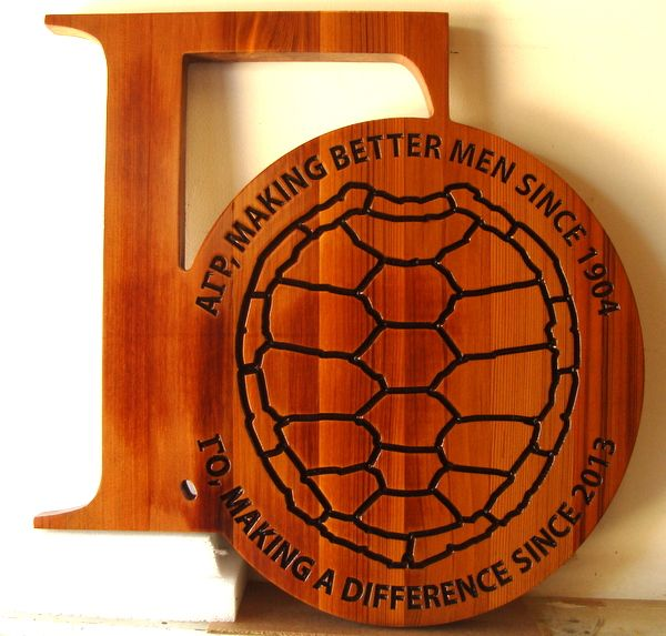 WP5330 -  Fraternity Crest Plaque,  Engraved Stained Cedar