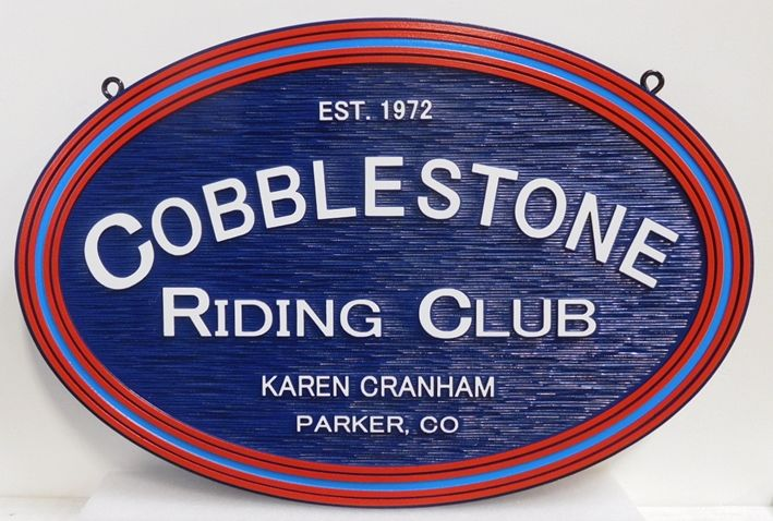 """P25329 Carved and Sandbl;asted Wood Grain Entrance sign for the """"Cobblestone Riding Club"""""""