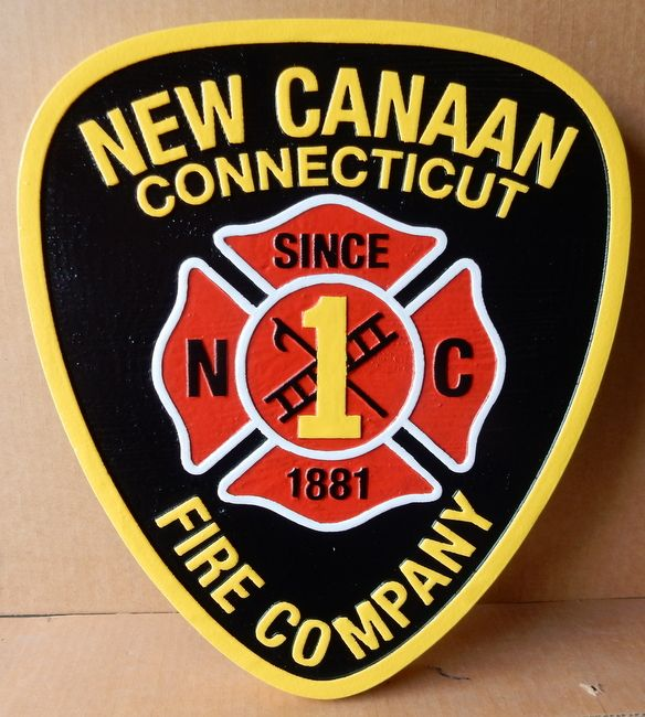 X33874 - Carved Wood Wall Plaque of the Shoulder Patch & Badge of the New Cannan, Connecticut Fire Company