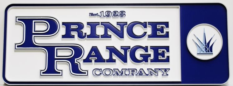 S28176 - Carved Multi-level HDU Sign made for the Prince Range Company, with Logo as Artwork