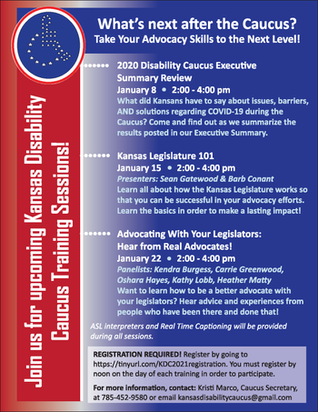 Caucus circle logo with international wheelchair symbol . Flyer is red, white and blue.