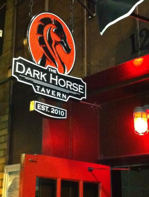 """RB27540 - Carved """"Dark Horse"""" Tavern Sign"""