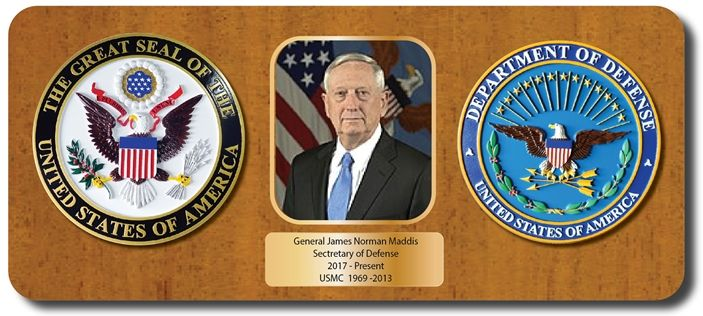 IP-1130 - Commemorative Mahogany Plaque for Secretary of Defense with Giclee Photo Appliques for Secretary of Defense
