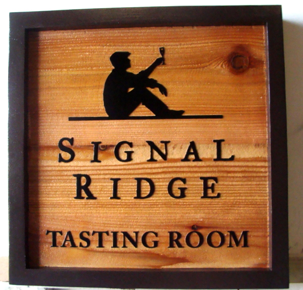 "R27035 - Carved and Sandblasted  Cedar ""Signal Ridge Wine Tasting Room"" Sign, with Wine Drinker"