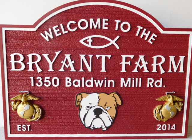 O24509 - Carved Farm Sign with Bulldog, Globe Anchor Marine Symbol  and Christian Symbol as Artwork