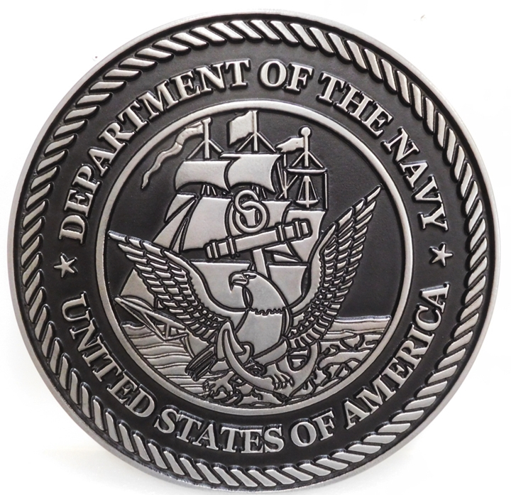 JP-1167 - Carved Plaque of the Great Seal of the US Navy, 2.5-D Raised Relief, Aluminum-plated