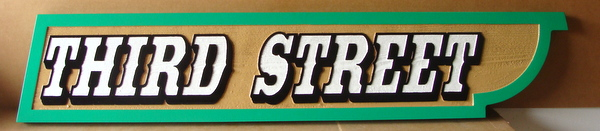 H17039 -  HDU  Street Name Sign, Third Street, 2.5-D Multi-level Outline Relief Text