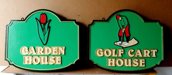 E14229 - Carved HDU Golf Course Signs Golf Cart House and Golf Garden House with Carved Image of Golfer and Tulip