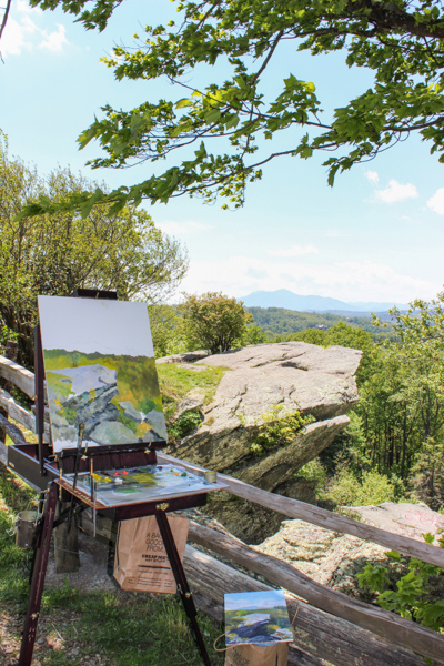 Earl Davis work in progress during the 2019 Blowing Rock Plein Air Festival, from Raven Rocks Overlook on the Blue Ridge Parkway