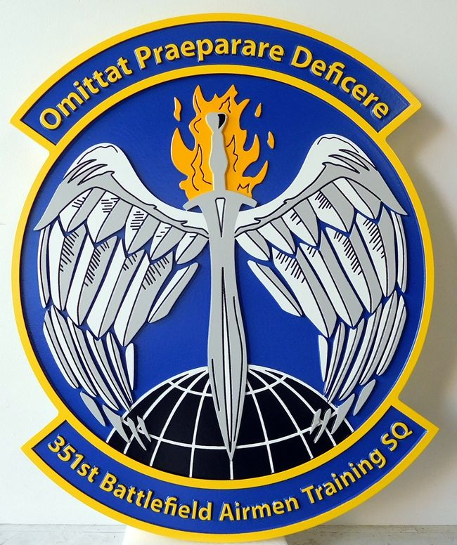 V31610 - Carved Wall Plaque of the Crest of the USAF 351st Battlefield Airmen Training Squadron