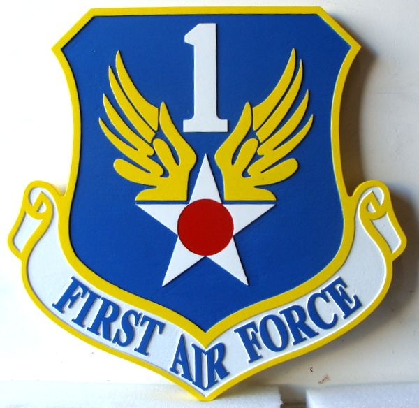 V31580 -Carved Shield Wall Plaque with the Shield and Crest of First Air Force, USAF