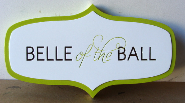"P25412 - Engraved HDU Horse Stall Sign ""Bell of the Ball"""