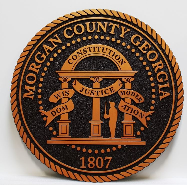 CP-1350 - Carved 2.5-D HDU Plaque  The Seal of Morgan County, Georgia