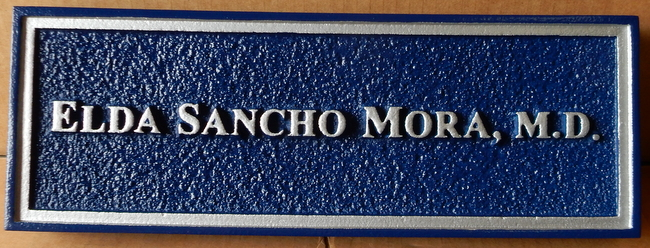 B11069  - Sandblasted, Sandstone-Look Nameplate for a Medical Doctor with Color-Matched Text and Trim