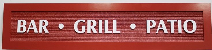Q25057- Carved 2.5-D and Sandblasted Wood Grain HDU  Sign  for a Bar, Grill and Patio