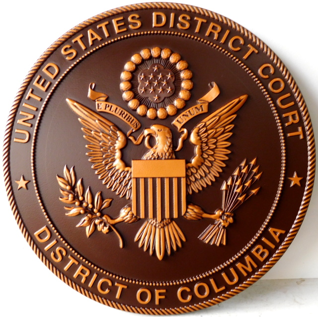 U30162 - Carved 3-D Bronze Painted  Wall Plaque for Seal of US US District Court of the District of Columbia