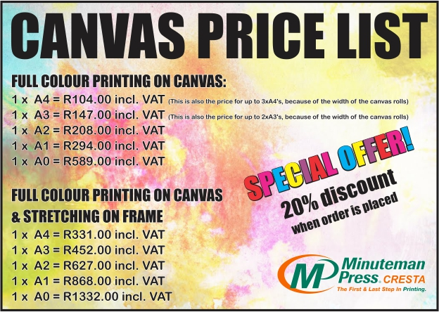 Prices for printing and stretching canvas of different standard metric sizes, including a special offer.
