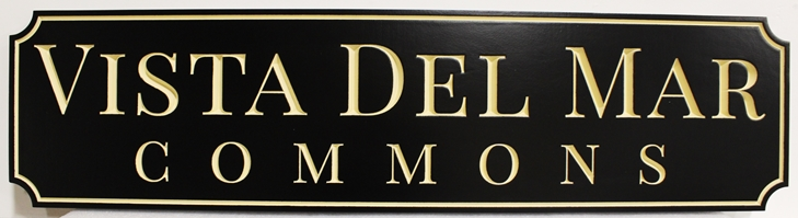 "K20388  -  Engraved High-Density-Urethane (HDU)  Entrance Sign for the ""Vista Del Mar"" Residential Community"