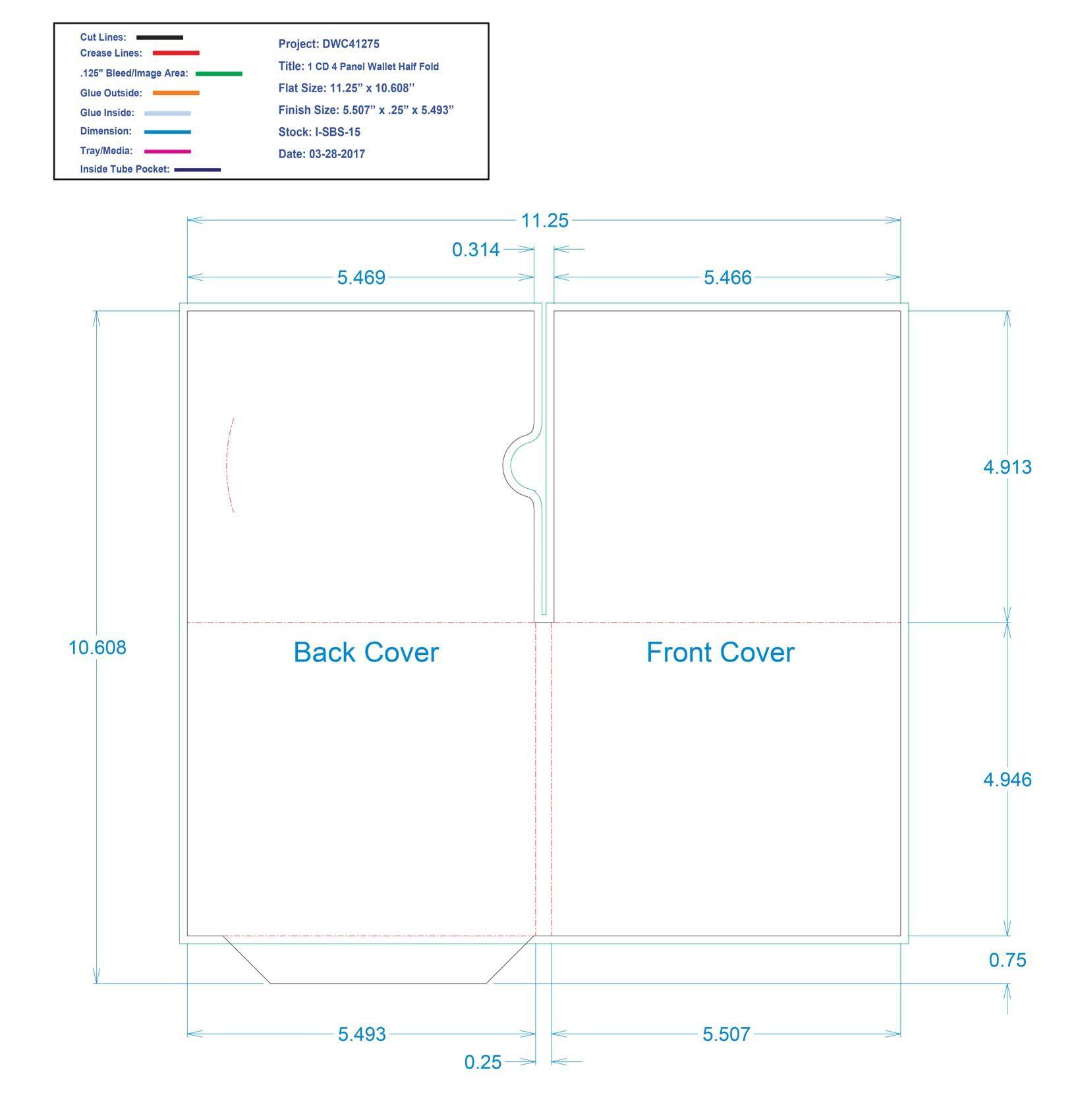 DWC41275 4 Panel Wallet 1 CD Half Fold