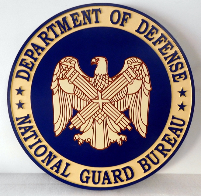 IP-1730 - Carved Plaque of the Seal of Department of Defense National Guard Bureau, Artist Painted