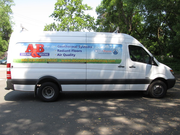 Fleet Graphics, Sprinter Van, Lettering & Graphics, 4 Color Large Format Printed Panel Partial Wrap