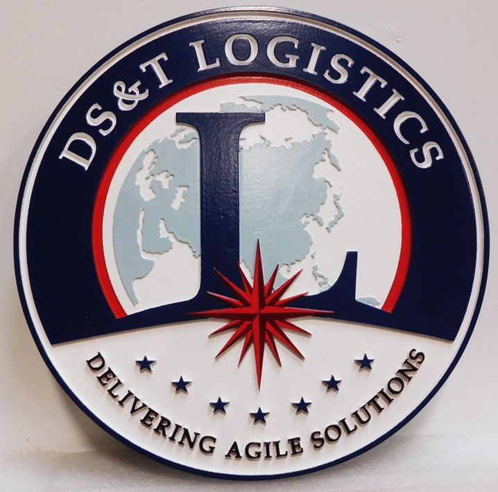 AP-3187 - Carved Plaque of the Seal of the Office of D&T Logistics, 2.5-D Artist-Painted