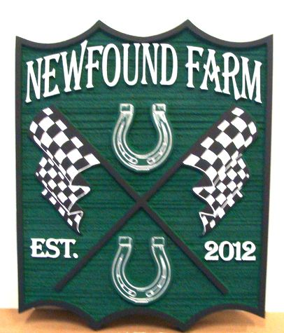 P25072 - NewFound Equine Farm Sign, with Horseshoes and Racing Flags