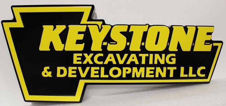 S28132 - Carved Multi-Level High-Density-Urethane (HDU) Key-shaped Sign made for the Keystone Excavating & Development Company.