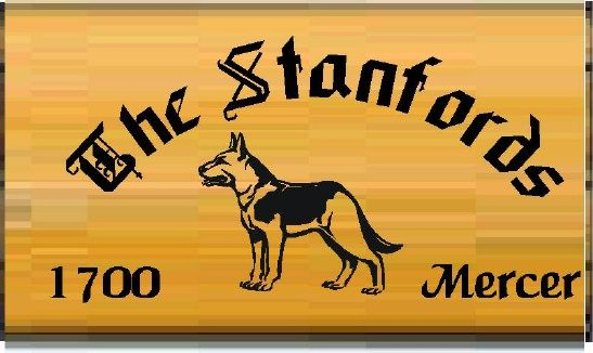 "I18625 - Engraved Cedar Property Name Sign  ""The Stanfords"". with a German Shepherd Dog as Artwork."