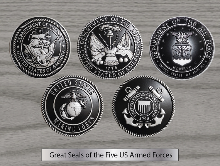 IP-1300 -  Oak Plaque with Set of Five Giclee Printed Seals of the Five Armed Forces, Navy, Marines, Air Force, Army & Coast Guard