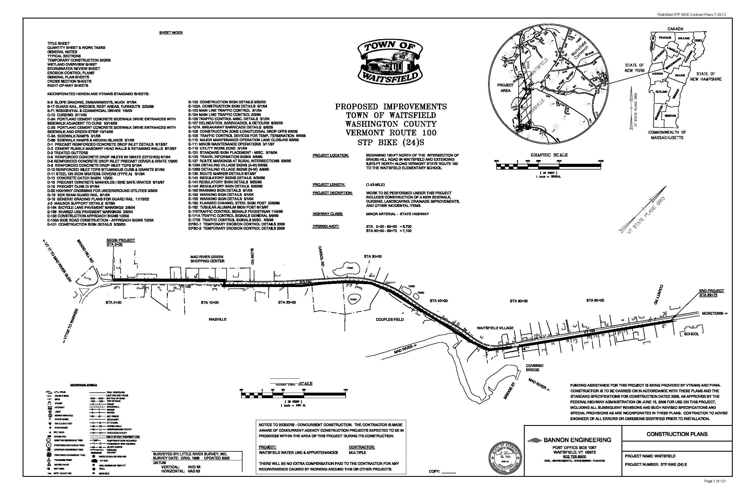 Waitsfield Sidewalk Plan Set 8/09/12