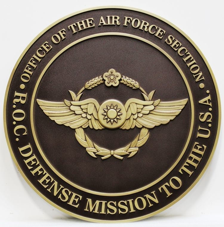OP-1140 - Carved 2.5-D Plaque of the Crest of the Office of the Air Force +Section , Defense Mission to the U.S.A,  Republic of China, R.O.C
