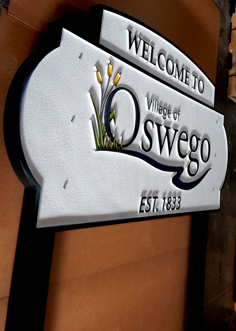 F15018B - Side View of Post-Mounted, Carved HDU Oswega Village Welcome Sign