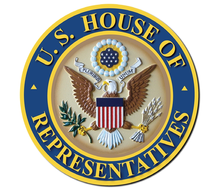 AP-2040 -  Carved Plaque of the Seal of the US House of Representatives, Artist Painted