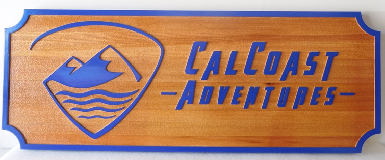 """SA28811 - Carved Redwood Sign for the """"Cal Coast Adventures""""  Company, with Mountain Logo"""