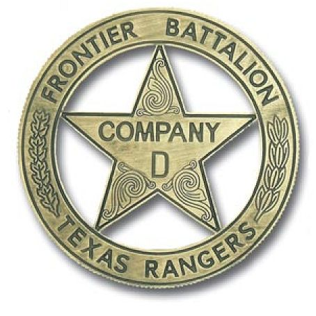 X33712 - Carved Brass-Coated   Wall Plaque of Historical Company D Texas Ranger Badge