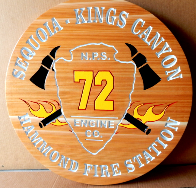 QP-3120 - Carved Wall Plaque of  the Seal/Emblem  of the Sequoia-Kings Canyon  Fire Station, California,  Cedar Wood
