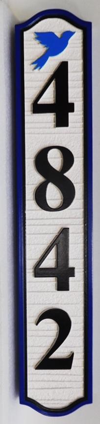 I18361 - Vertical Sandblasted Wood Grain Address Number Sign