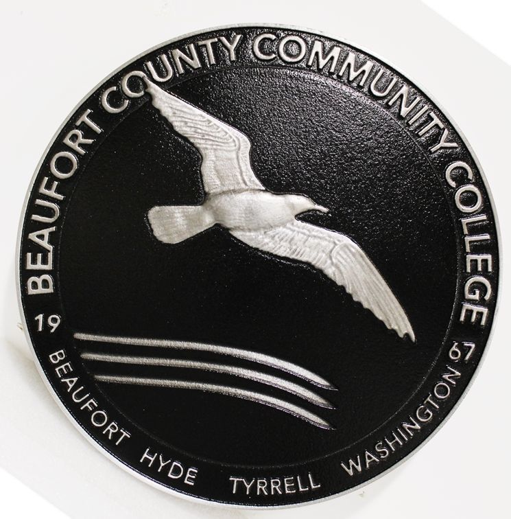 RP-1547 - Carved 3-D HDU Plaque of the Seal of Beaufort County Community College