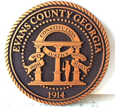 CP-1200 -  Carved Plaque of the Seal of Evans County, Georgia,  Artist Painted Bronze Metallic
