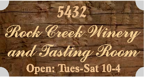 R27330 - Carved Rustic Redwood Sign for Rock Creek Winery
