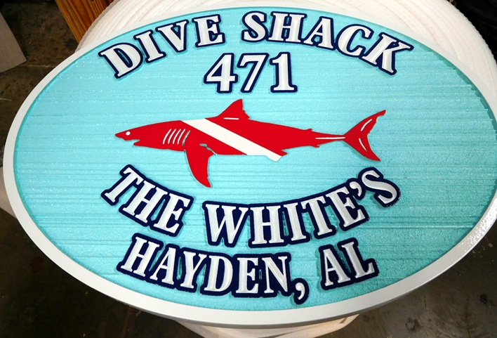 "L21385 - Carved and Sandblasted HDU Address Sign ""Dive Shack"", with Shark"