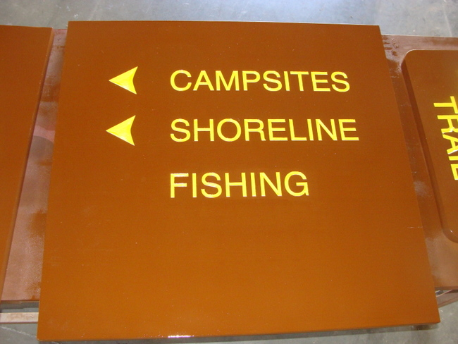 G16168 -  Directional Sign for Campsites and Shoreline Fishing