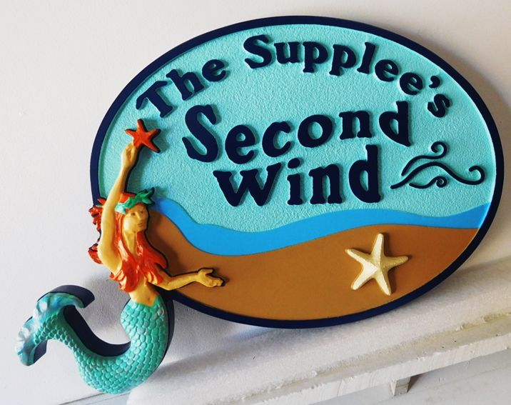 """L21905 – Carved 3D HDU Property Name Sign """"Second Wind"""" for Seashore Residence,  with Mermaid"""